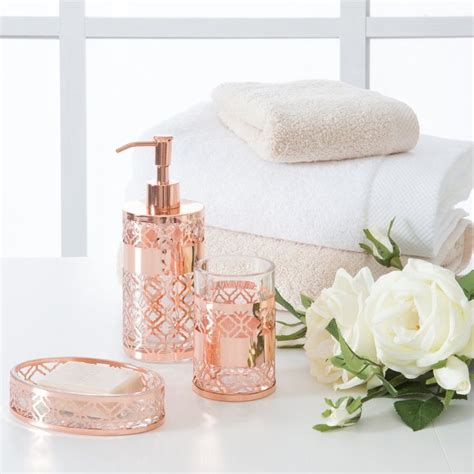 Copper Images Decorative Objects On Peach Bathroom Decor S