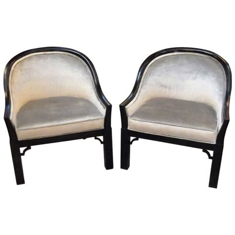 pair of regency black lacquered accent chairs