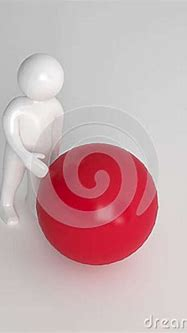3d Character With A Large Red Ball Stock Illustration ...