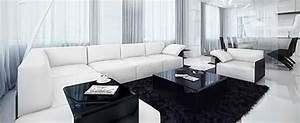 deco salon design noir With meuble salon noir et blanc 4 5 piaces 5 couleurs ambiancez votre interieur maison