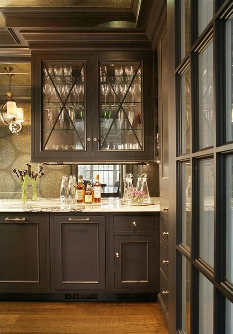 butler pantry  shelves   mirrored backsplash