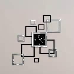 album argent et noir 3d diy miroir horloge murale design moderne relojes de pared montre mur