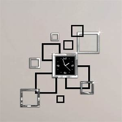 Horloge Murale Moderne : acheter album argent et noir 3d bricolage miroir horloge murale design moderne ~ Teatrodelosmanantiales.com Idées de Décoration