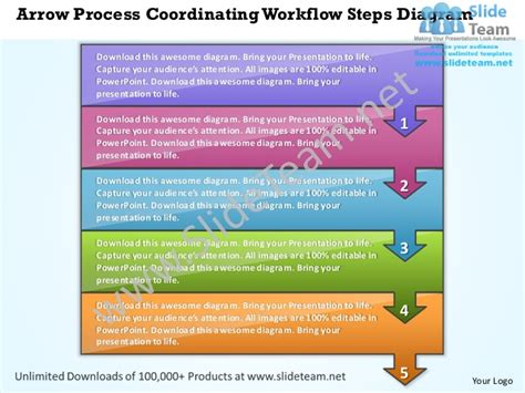 powerpoint workflow template business power point templates arrow process coordinating workflow st
