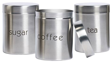contemporary canisters for the kitchen sugar coffee and tea stainless steel canisters set of 3 8307