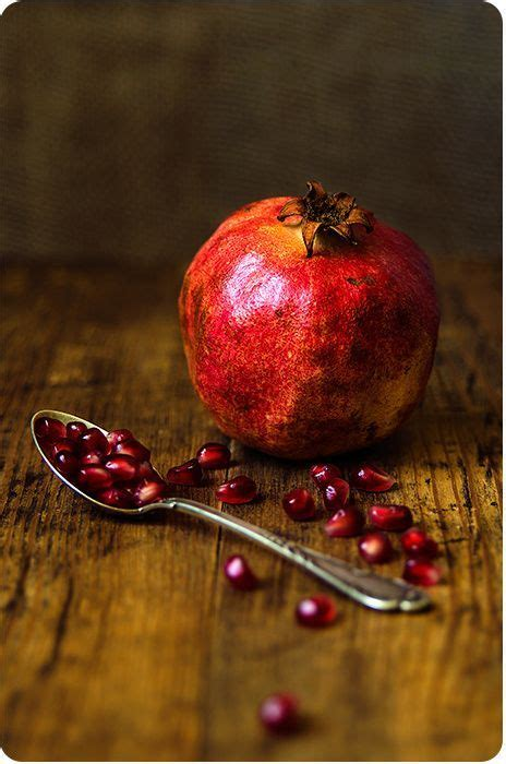 life photography pomegranate fruit  spoon