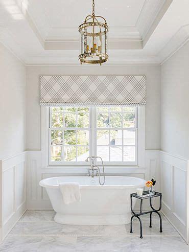 modern plaid roman shade   bathroom window