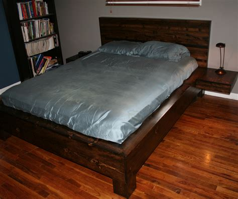 diy platform bed  floating nightstands