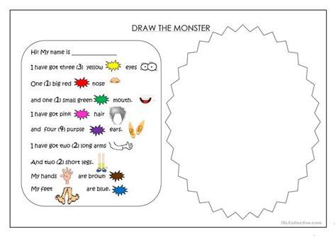 draw  monster worksheet  esl printable worksheets