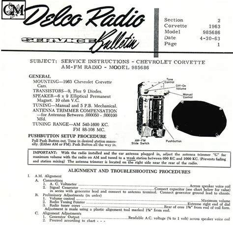 corvette delco service bulletins delco radio service