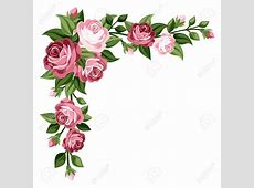 Pink Rose clipart vintage floral Pencil and in color