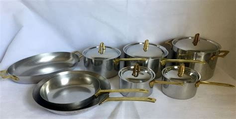 vtg  pc revere ware signature collection copper core polished stainless brass  images
