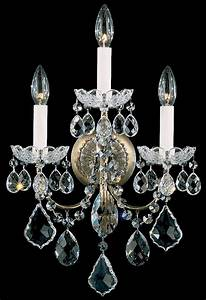 Schonbek 3652 26s new orleans 3 light crystal wall sconce for Kitchen cabinets lowes with swarovski crystal candle holders