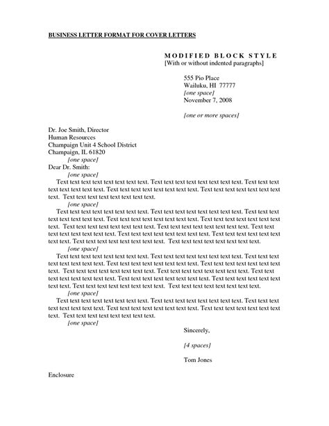 formal business cover letter format examples  forms