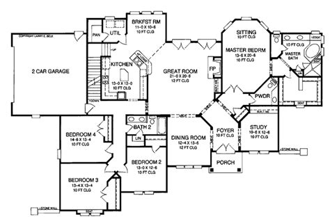 Country Style House Plan  4 Beds 25 Baths 2960 Sqft