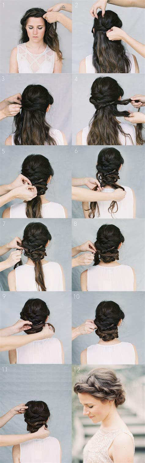 haircut tutorials for medium hair crown braid chignon tutorial once wed 4083
