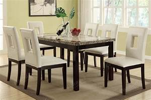 modern white faux leather 7 pc dining set table chair With dining room table sets leather chairs