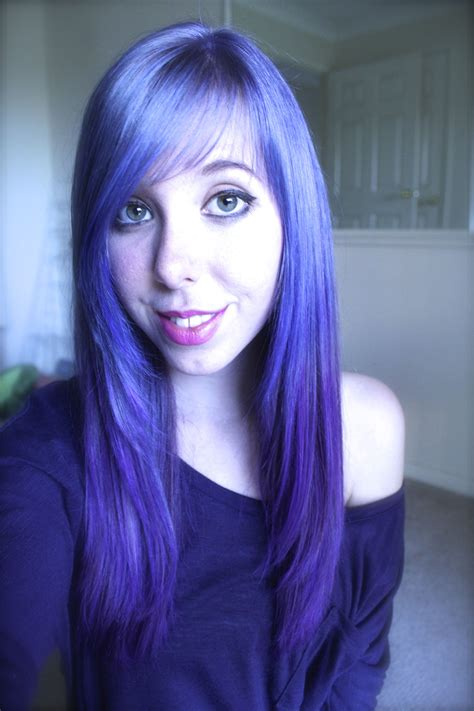 My New Electric Blue To Purple Ombre Hair Done With Fudge