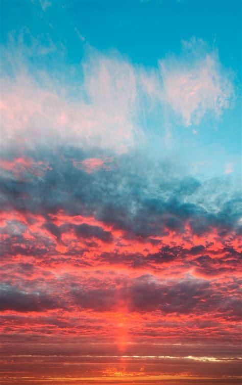 Orange Sky Wallpaper Iphone by Sky Orange Clouds Sunset Wallpaper Nature In 2019
