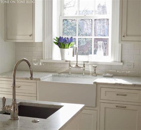 kitchen  white apron sink transitional kitchen
