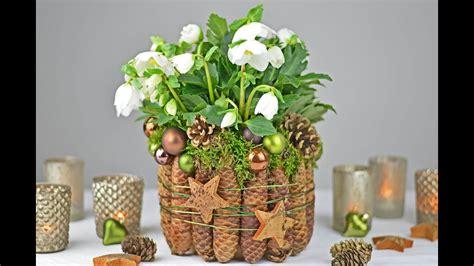 diy christrose dekorieren mit fichtenzapfen moos