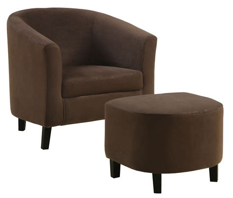 8056 chocolate brown padded microfiber chair and ottoman