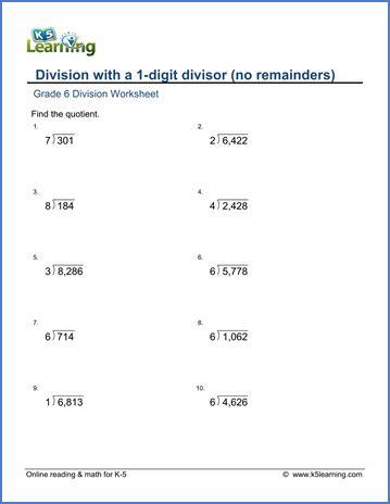 grade 6 math worksheet multiplication division