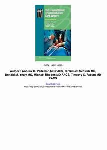 The Trauma Manual Trauma And Acute Care Surgery Pdf