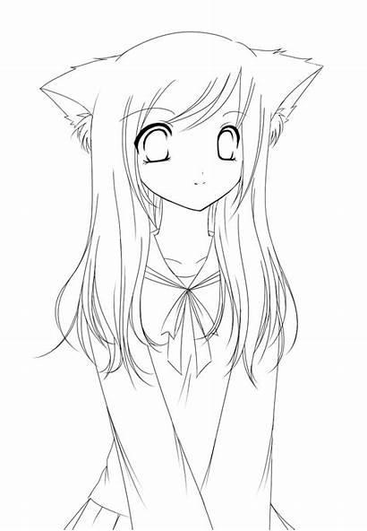 Coloring Anime Neko Manga Cat Ausmalbilder Line