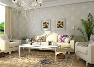 Most beautiful European living room with elegant wallpaper ...