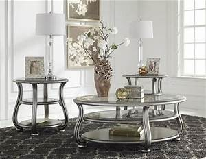 Coralayne silver metal glass 3pc rectangle round coffee for Dining table and coffee table set