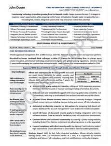 cio resume template free executive resume sles elizabeth bradford the career artisan