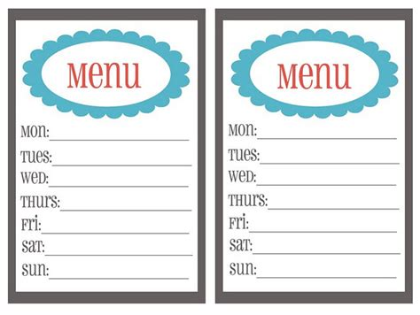 menu planning templates clipart