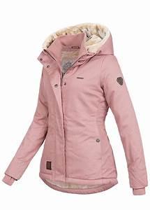 6b83d5f9f8be4f aiki damen winter jacke kapuze teddyfell 2 taschen daumenloch punkte muster  rosa 77onlineshop
