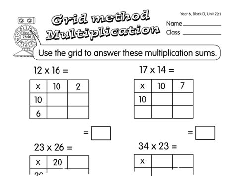 multiplication worksheets using grid method grid multiplication a year 6 multiplication worksheet