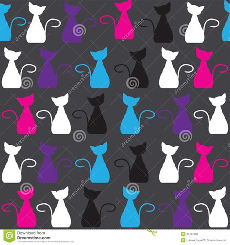 Bright Cat Seamless Pattern, And Seamless Patter Stock