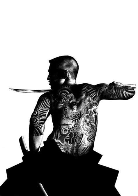 Japanese Samurai with yakuza style tattoo, in ink, artist