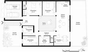 plan maison plain pied 4 chambres ooreka With superb plan d une maison en 3d 3 plan maison mitoyenne de plain pied ooreka