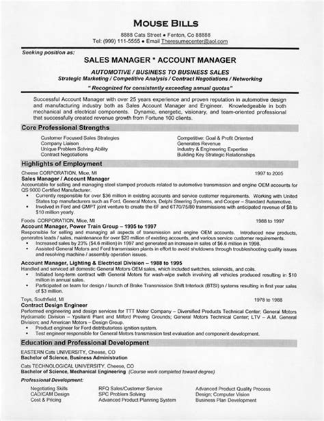 Sle Of A Curriculum Vitae Cover Letter by Free Sle Resume For Sales Manager