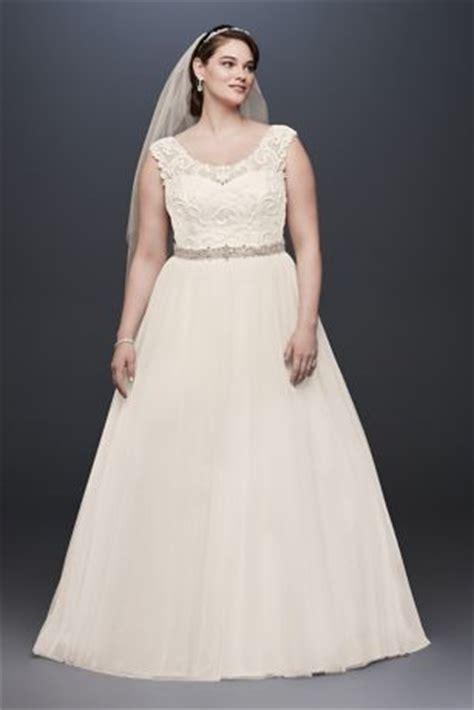 tulle  size wedding dress  lace cap sleeve david