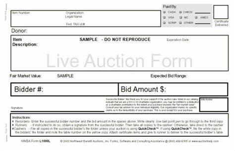 Live Bid Auction Northwest Benefit Auctions Live Auction Bid Forms