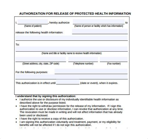 generic medical record release forms