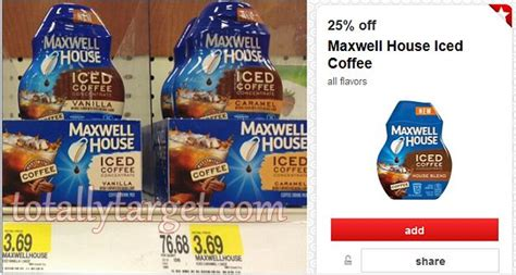 To prepare, pour additional cooled brewed maxwell house coffee (any variety) into ice cube trays. New 25% Off Maxwell House Iced Coffee Target Cartwheel ...