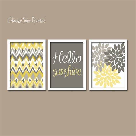 yellow gray wall art girl child canvas artwork hello by