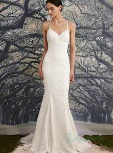 sexy backless thin straps empire sheath lace wedding dress With thin strap wedding dress