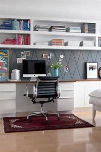 Remodelaholic get this look easy home office with wall for Home office wall shelving