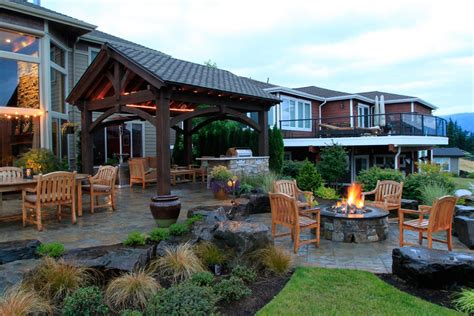 outdoor fireplace or pit 55 best backyard retreats with fire pits chimineas fire pots fire bowls western timber frame