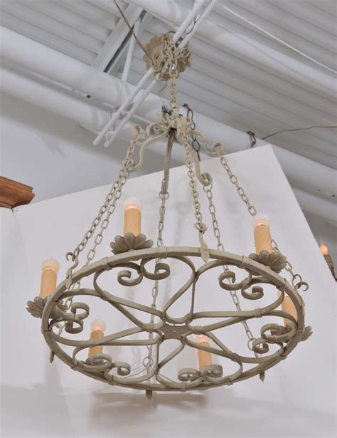 Large Circular Chandelier by Painted Vintage Iron Chandelier Skelton Culver