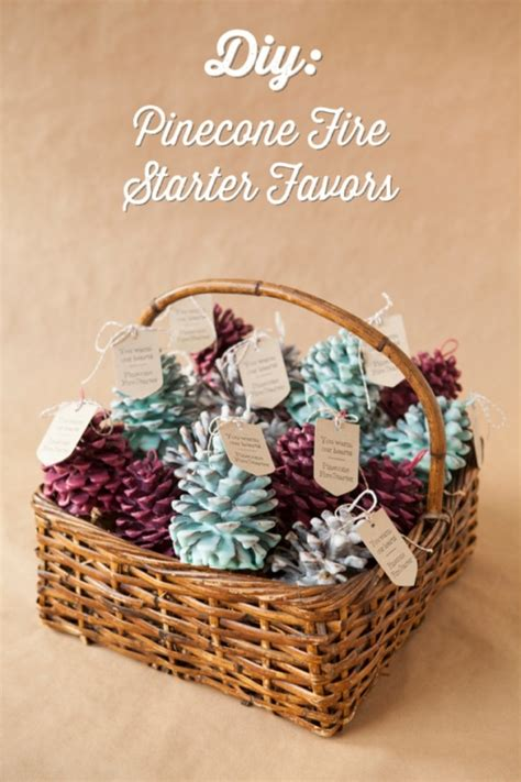 diy pinecone fire starter favors  jen carreiro project