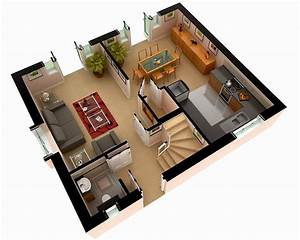 Multi-Story House Plans 3D 3D Floor Plan Design, modern ...